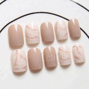 BNIB short nude marble nails